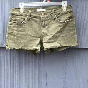 7 For All Mankind  Army Green Distressed Short